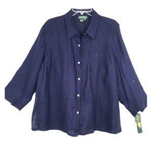 Lauren Ralph Lauren 100% Linen Button Up Top Navy